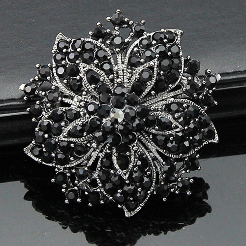 Vintage Fashion Women Clothes Black Crystals Flower Luxury Brooch Wedding Party Gift Brooch Pins For girls