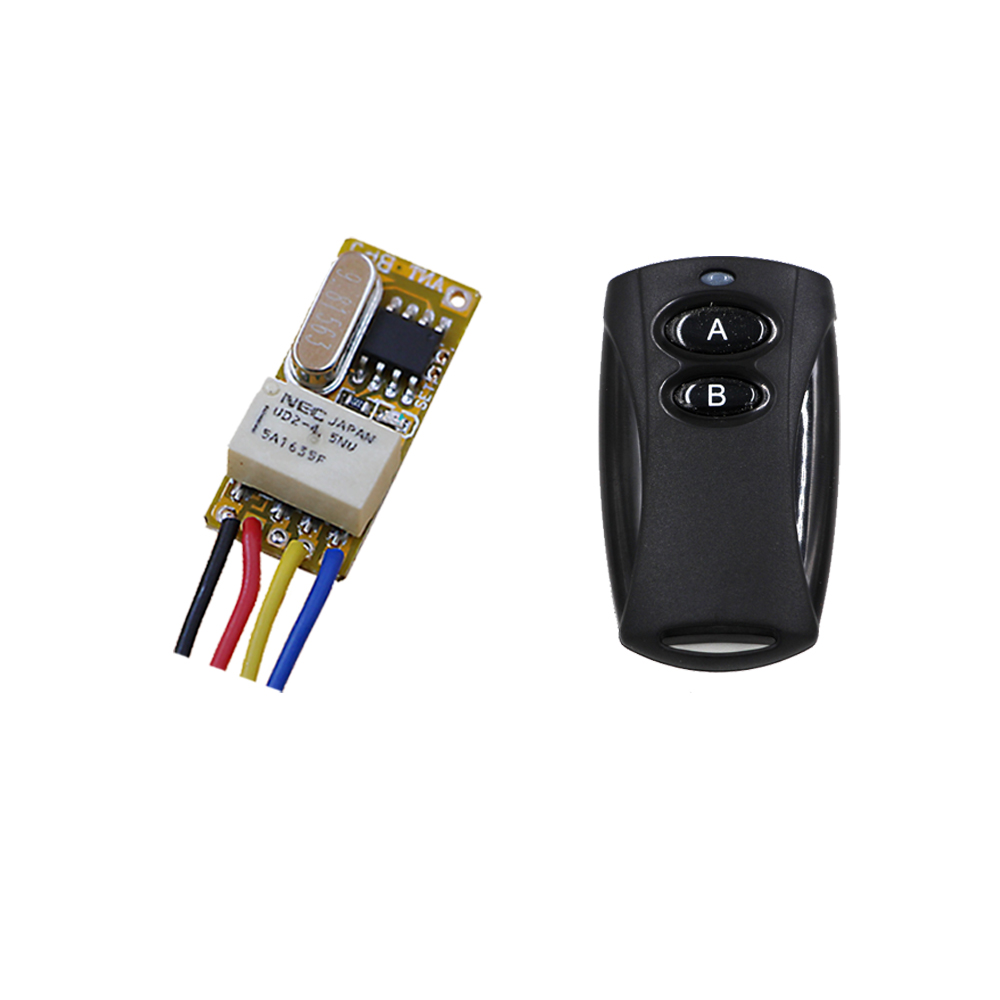 New Mini Relay Switch DC3.5V 4.5V 5V 6V 7.4V 9V 12V Contact NO COM NC Remote ON OFF Wireless Switch Normally Closed Open 315mhz dc 3 7v 4 5v 5v 6v 7 4v 9v 12v mini 2ch relay remote switch micro wireless switch no com nc relay receiver transmitter contact