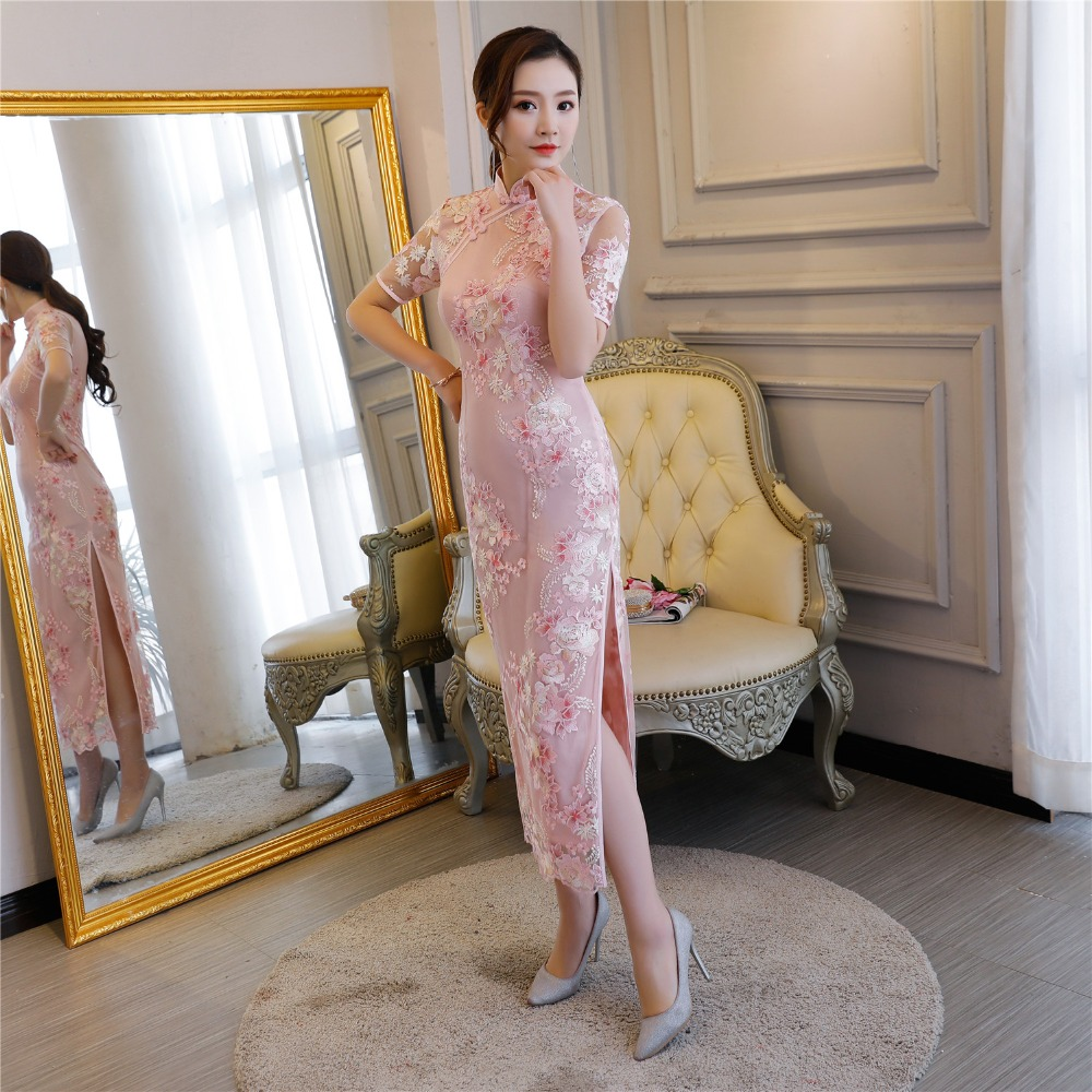 rose Qipao Robes Longues Floral Histoire Dentelle Traditionnels Brodé Vêtements Beige Manches Courtes Shanghai Style Chinois Cheongsam ZYaOxx0