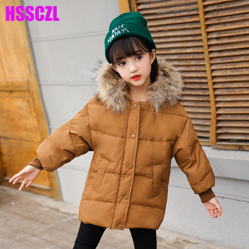 HSSCZL Girls Down Jacket winter Children 2017 Brand Thick Short hooded Fur collar Girl Down Jackets Baby Coat outerwear Solid girls down coats girl winter collar hooded outerwear coat children down jackets childrens thickening jacket cold winter 3 13y