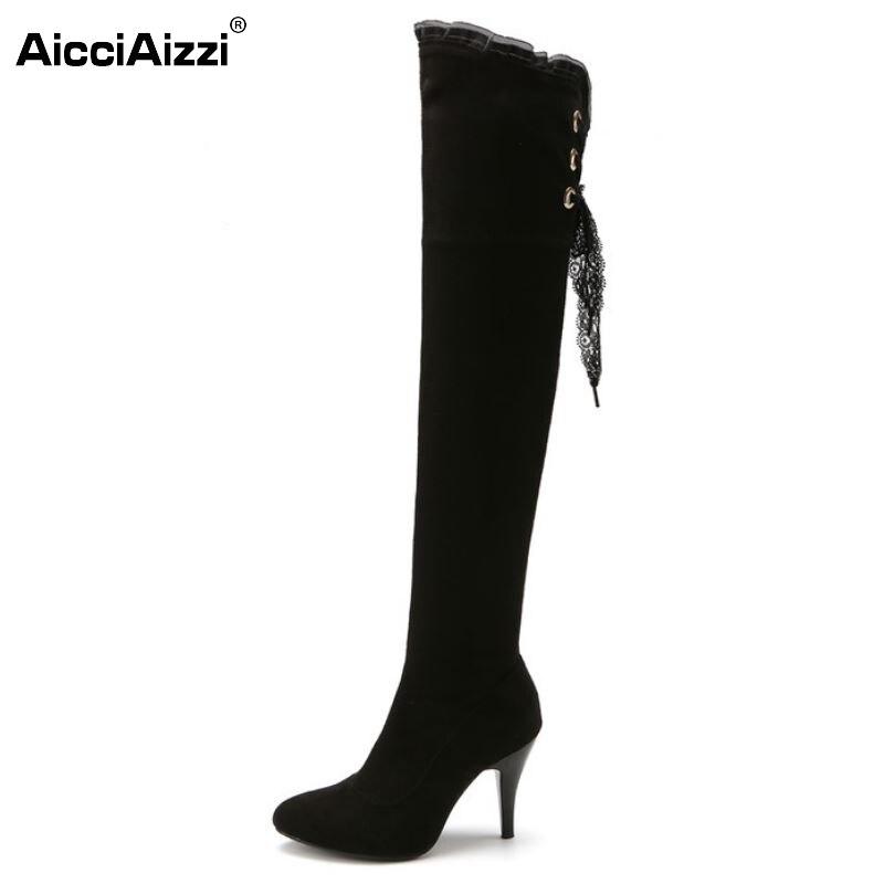 ФОТО Size 32-48Women High Heel Over Knee Boot Lace-up Winter Warm Plush Knight Long Boot Fashion Botas Feminina Footwear Shoes