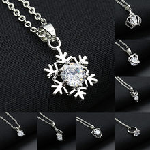 Crystal Necklaces Hollow Snowflake Heart Crown Butterfly Owl Pendants Silver Rhinestone Charm Choker Chain Women Jewelry(China)