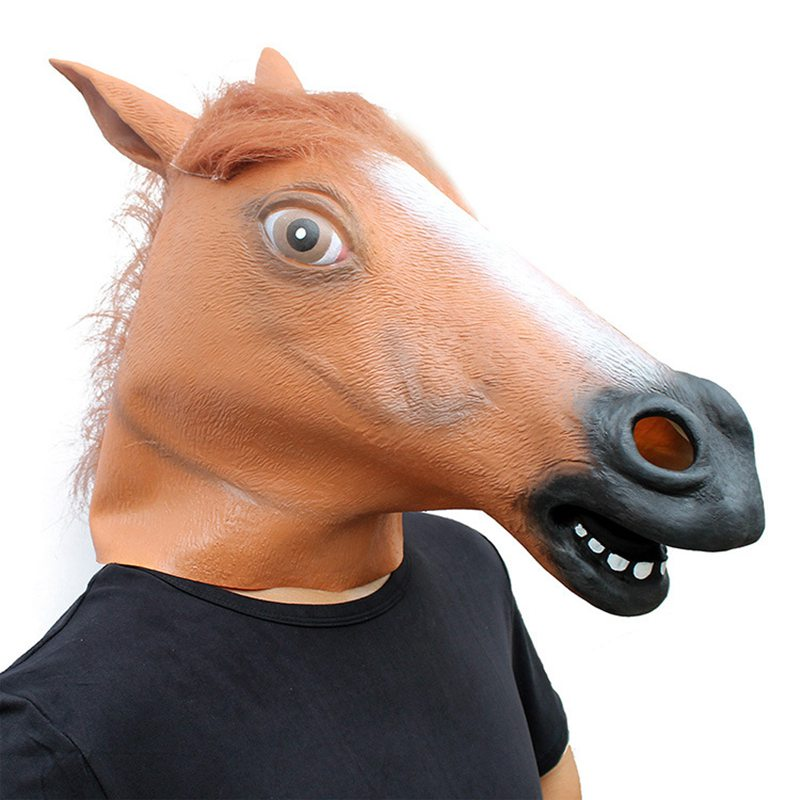 Hot Halloween Mask Horse Head Mask Latex Creepy Animal Costume Theater Prank Crazy Party Full Face Props Novelty Christmas Mask