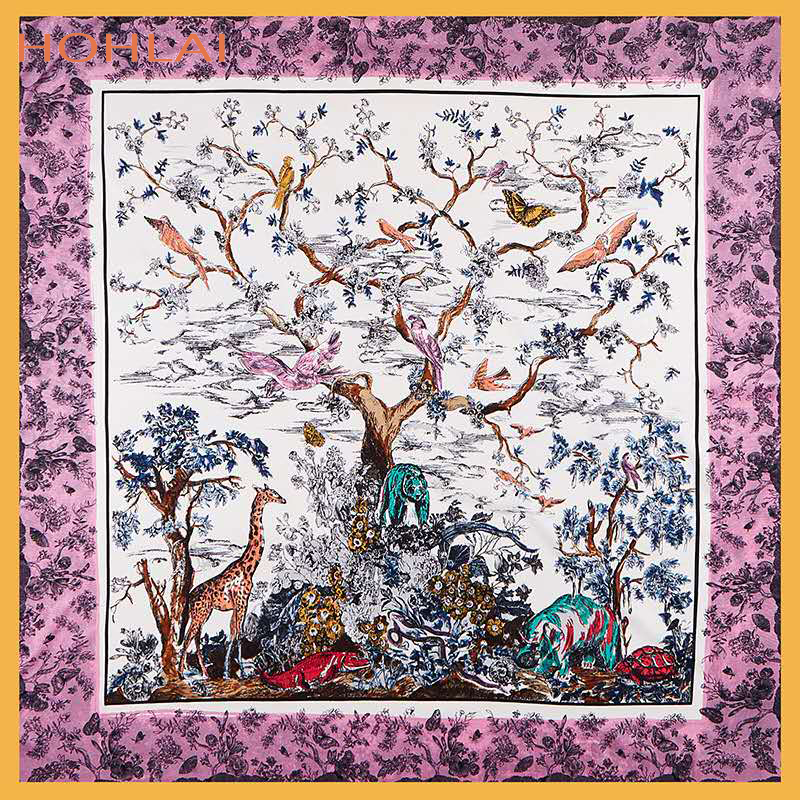New Luxury Brand Summer Scarf 100% Twill Silk Scarf Women Animals Tree Square Scarves130CM*130CM Bandana Shawls Foulard(China)