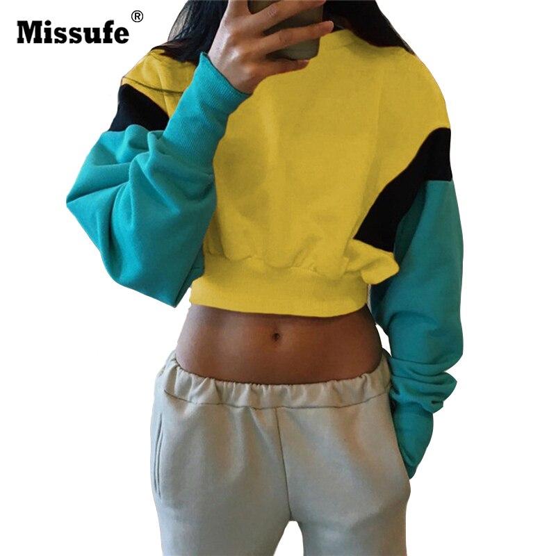 Missufe Patchwork Short Women Hoodie O Neck Long Sleeve Sweatshirt 2018 Streetwear Crop Top New Female Autumn Winter Hoodies