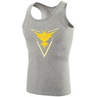 Fitness Bodybuilding Singlet Mannen Tank Tops Pokemon Go Game Fans Zapdos Team Geel Team Mouwloos Vest Jongen Print ondershirt