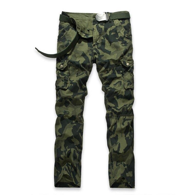 Hommes multi-poches Camo pantalon mode hommes décontracté Camouflage militaire Cargo pantalon tactique armée pantalon pas de ceinture