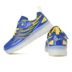 Image 4 - Größe 25 37 Kinder LED Sneaker Jungen Schuhe USB Lade Kinder Schuhe mit Licht up Luminous Mädchen Glowing Turnschuhe schule Schuhe