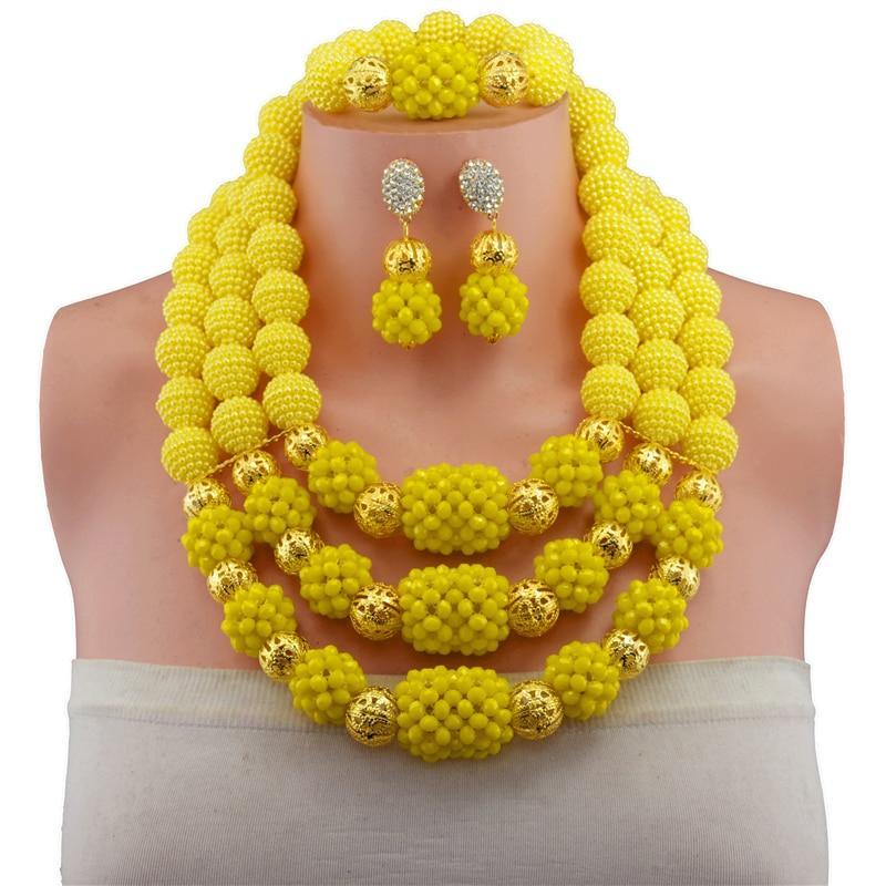 Fashion African Wedding Beads Jewelry Set Yellow Crystal Nigerian Beads Necklaces Bracelet EarringsFashion African Wedding Beads Jewelry Set Yellow Crystal Nigerian Beads Necklaces Bracelet Earrings