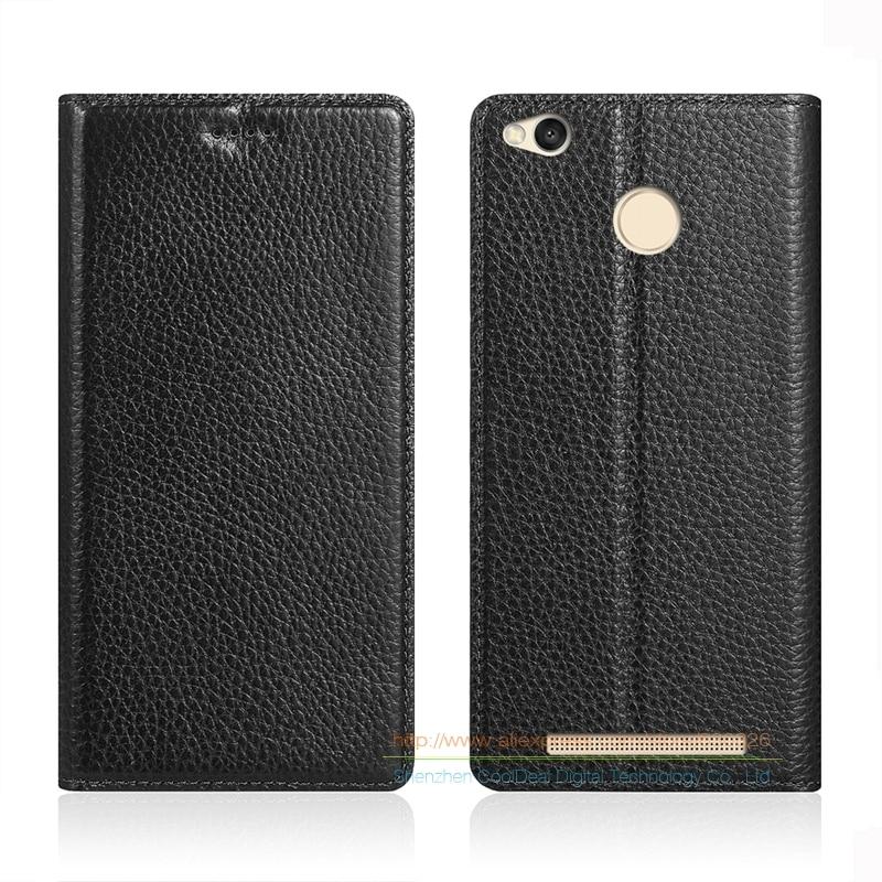 imágenes para Imán Invisible Caja Del Cuero Genuino Para Xiaomi Redmi 3 S/Redmi3 Pro 5.0 ''Teléfono Del Soporte Del Tirón de Cuero de Vaca cubierta