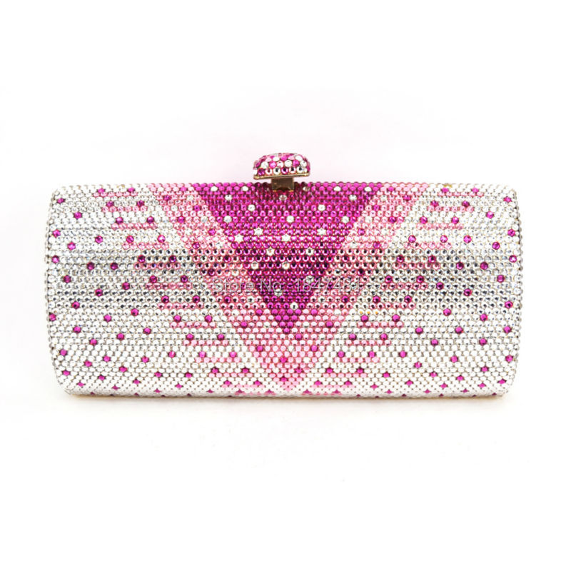ФОТО LaiSC Beautiful Crystal Applique Long Shaped Wedding Clutch Bags Full Crystal Pink party purse DIY Evening bag SC317