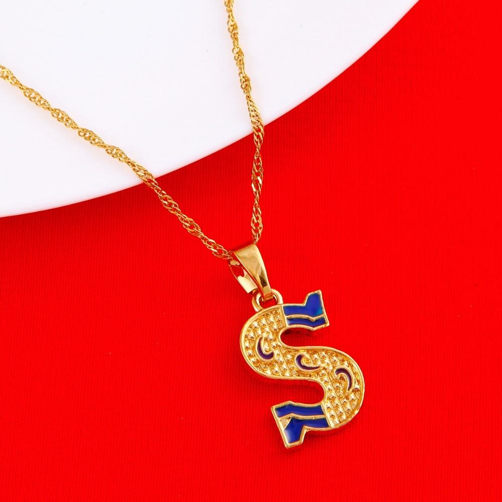 Cor de ouro Colar de Pingente de Colar de Mulheres Homens Carta Capital  Inicial S Moda Letra Do Alfabeto Colar 1ead1d4632