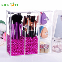 Lifewit 5mm Thick Acrylic Makeup Brush Organizer Case Storage Box Cosmetic Organizador Containers Holder Storage Boxes