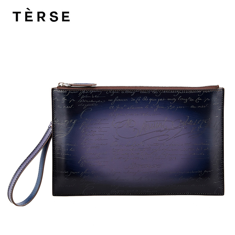 TERSE 2018 NEW Handbag Genuine Leather Day Clutches With Engraving Fashion Men`s Bag 4 Colors Zipper Clutches Custom Logo 9613-1 women s genuine leather day clutches 2016 new china designers women s cowhide embossing one shoulder bags fashion day clutches