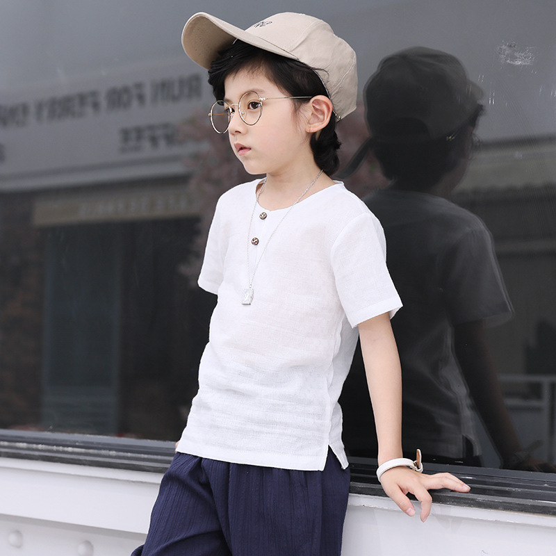 цена на 2018 Summer New Style Suit Boys Fashion With Simple Cotton-linen Short-sleeved And Shorts Large Cotton Comfortable Two-piece Set