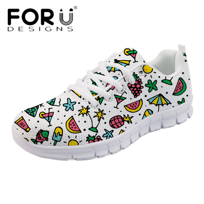 FORUDESIGNS Casual Flats Sneakers Women 2018 Summer Hand Drawn Printed Ladies Light Weight Shoes Comfortable Mesh Flats Mujer instantarts women casual light beach flats sandals 3d skull punk printed air mesh slip on woman slipper ladies comfortable shoes