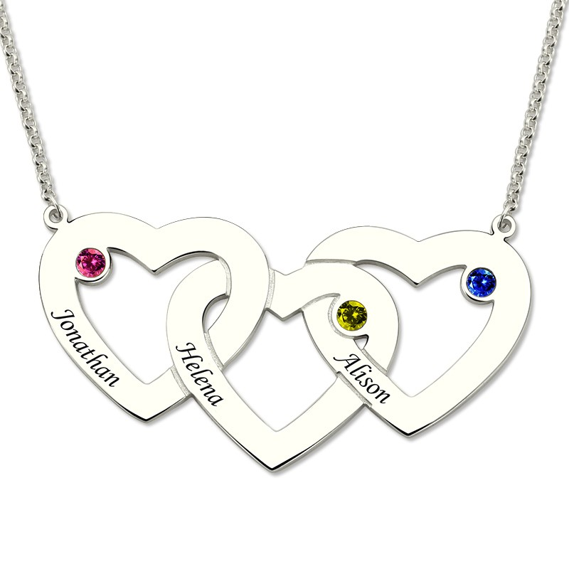 Custom Name Letter Necklace Women Silver Three Intertwined Hearts Birthstones Necklaces 3 Love Heart Pendants Chain