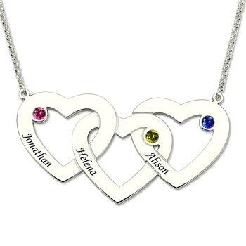cd45163f8ebc Personalizado de nombre Collar de plata de las mujeres tres corazones  entrelazados piedras collares 3 amor corazón colgantes Cadena de Regalo para  mamá