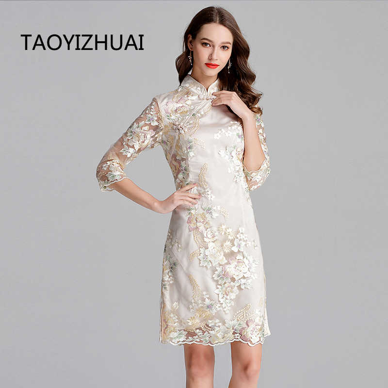 TAOYIZHAUI 2019 New Arrival Spring Vintage Style Plus Size Ivory White  Flower Emboidery Women Dress With 608831f4ee72