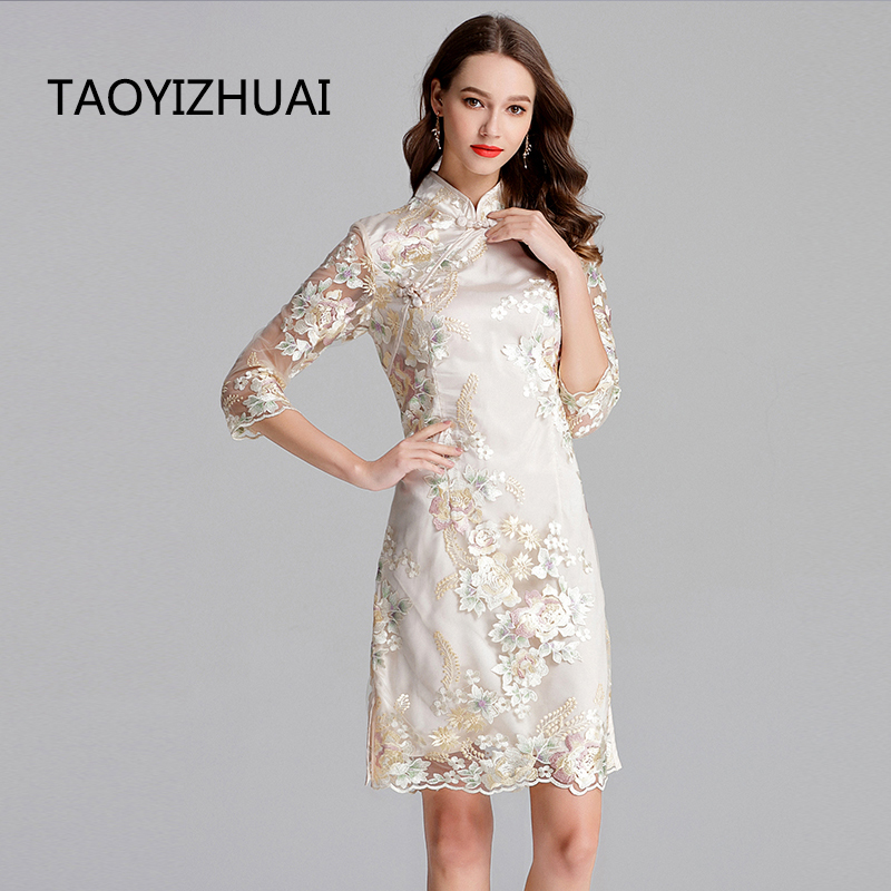TAOYIZHAUI 2019 New Arrival Spring Vintage Style Plus Size Ivory White Flower Emboidery Women Dress With Lace Polyester 11634