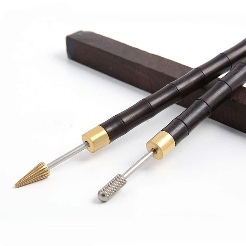 1 шт. Сделай Сам кожевенное ремесло двойной подшипник деревянная ручка край масла ручка, кожаная обработка воском роликовые колеса аксессуары инструменты