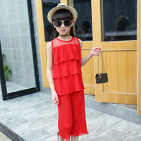 Summer New Pattern Korean Girl Pleated Chiffon Suit Sleeveless Cake Layer Vest Trousers 2 Pieces Kids