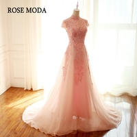 Rose Moda High Neck Pink Prom Dress 2018 Short Cap Sleeves Long Lace Prom Dresses Backless