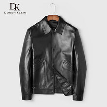 Men Genuine Leather Jacket Real Sheepskin Jackets Casual Short Black Stand Collar Pockets 2019 Autumn New Jacket for Man 19C310 цена 2017
