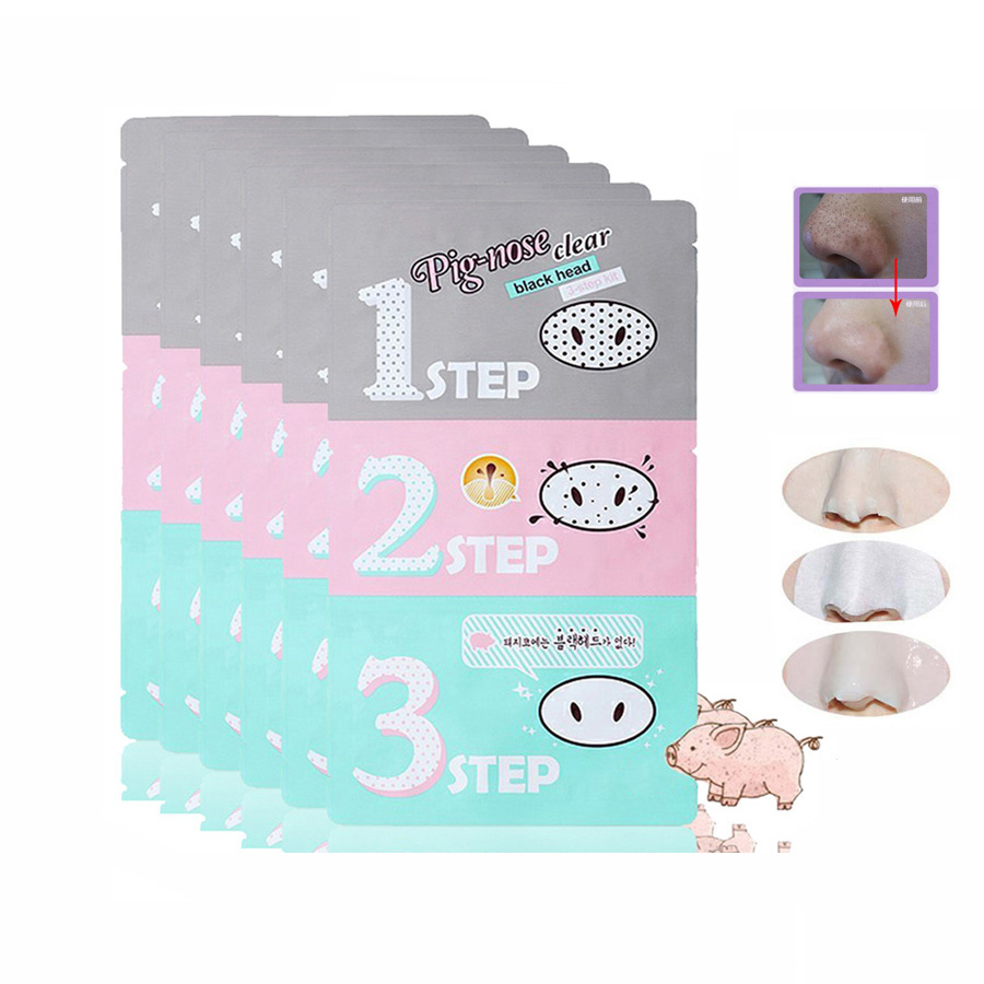 12pcs Holika 3 Step Pig Nose Blackhead Acne Remover Clear Black Mask Kit Beauty Cleaning Cosmetic Accessory D0243