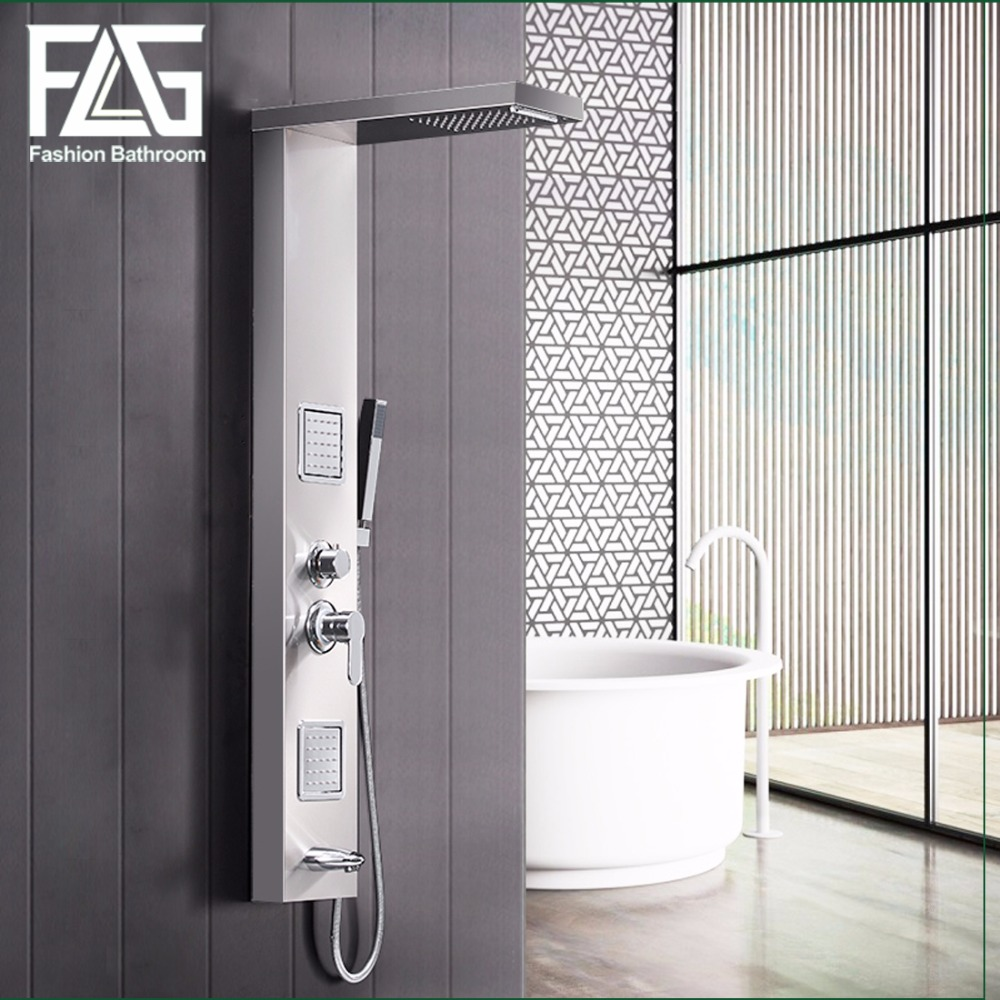 FLG 304SUS Bathroom Rain Shower Panel Brushed Nickel Shower Column ...