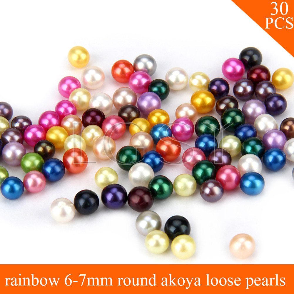 FREE SHIPPING, Big surprise 6-7mm AAA rainbow saltwater round akoya pearls 30pcs