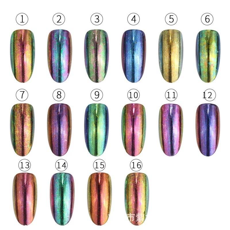 Manicure powder flake transparent chameleon coarse powder high grade brocade powder nail polish rubber glitter fireworks color in Nail Glitter from Beauty Health