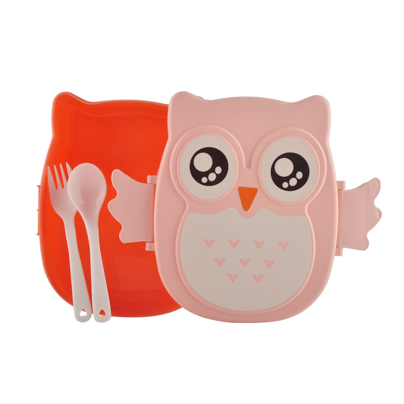 Plastic microwave cartoon owl lunch bento box set lunchbox food storage container for kids children students
