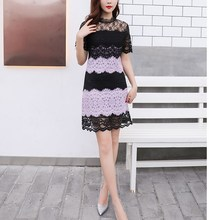 Summer Bodycon Short Sleeve Party Lace Patchwork Mini Dress Sexy Women Hollow Out Flower Dress Slim Fit High Waist Pencil Dress hollow out fit