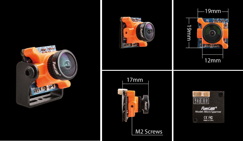 In Stock RunCam Micro Sparrow WDR 700TVL 1/3 CMOS 2.1mm FOV 145 Degree 16:9 FPV Action Camera NTSC / PAL Switchable for RC Drone