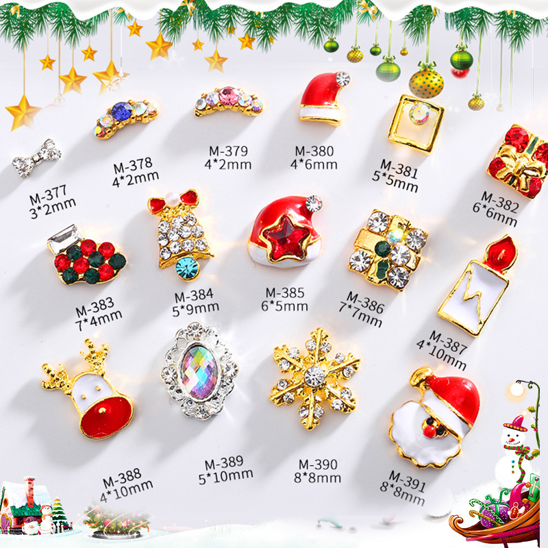 цена 20pcs/bag 3D Merry Christmas Nail Art Rhinestone Decoration Alloy Jewelry Glitter Nail Accessories Metal Crystal