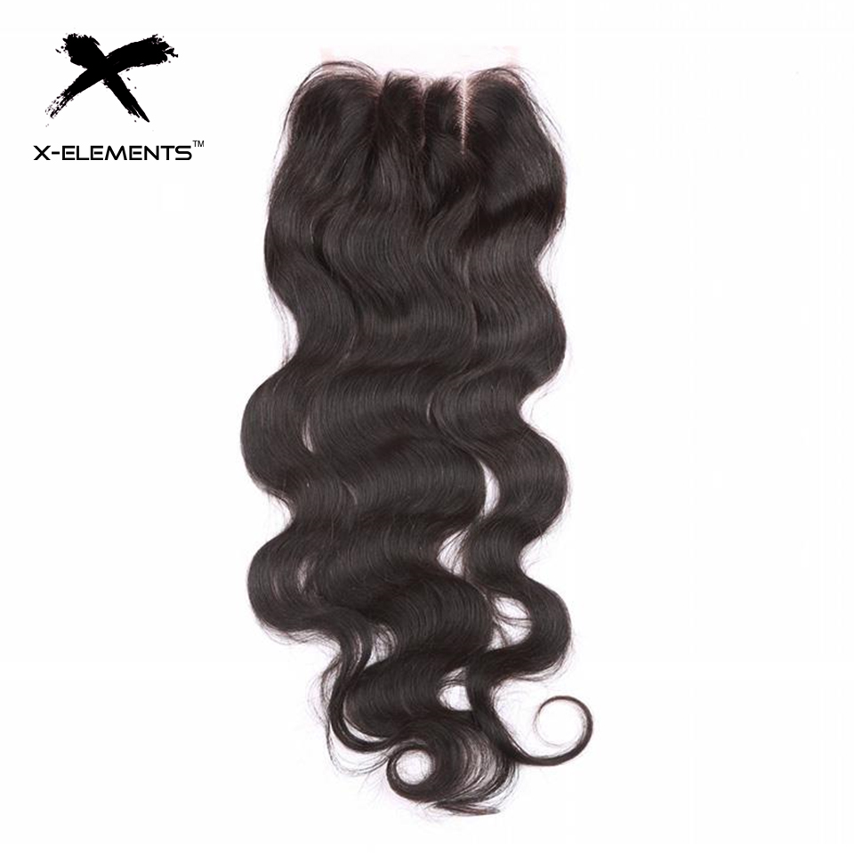 X-Elements Hair 4x4 Lace Closure Body Wave Hair Weaves Non-Remy Brazilian Human Hair Extensions Natural Color Swiss Lace Closure (13)