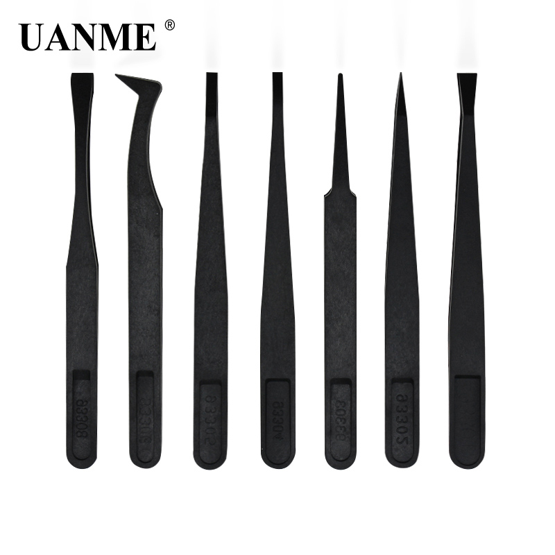 UANME 7Pcs/Set Anti-static Plastic Tweezers Heat Resistant ESD Safe Opening Tool Kits For Mobile Phone Tablets Repair Tools Kit