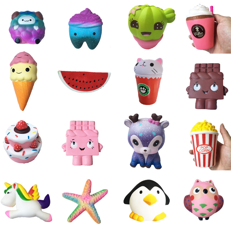 Squishy Toy cake ice cream deer chocolate squishies Slow Rising  Soft Squeeze Cute Cell Phone Strap gift Stress children toys usb powered funny cute stress relieving humping spot dog toy brown chocolate white