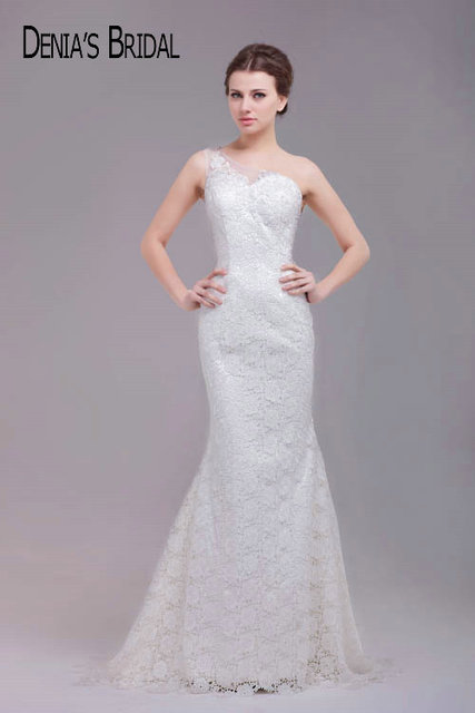 4840b6466ac Simple One Shoulder Sweetheart Lace Mermaid Bridal Gowns Illusion Back  Floor-Length Long Wedding Dresses