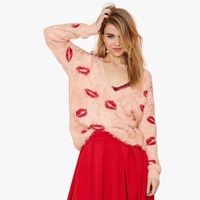 Haoduoyi Sweet And Playful Knitted Mohair Sweaters All Match Loose Lips Drop Shoulder Deep V Female