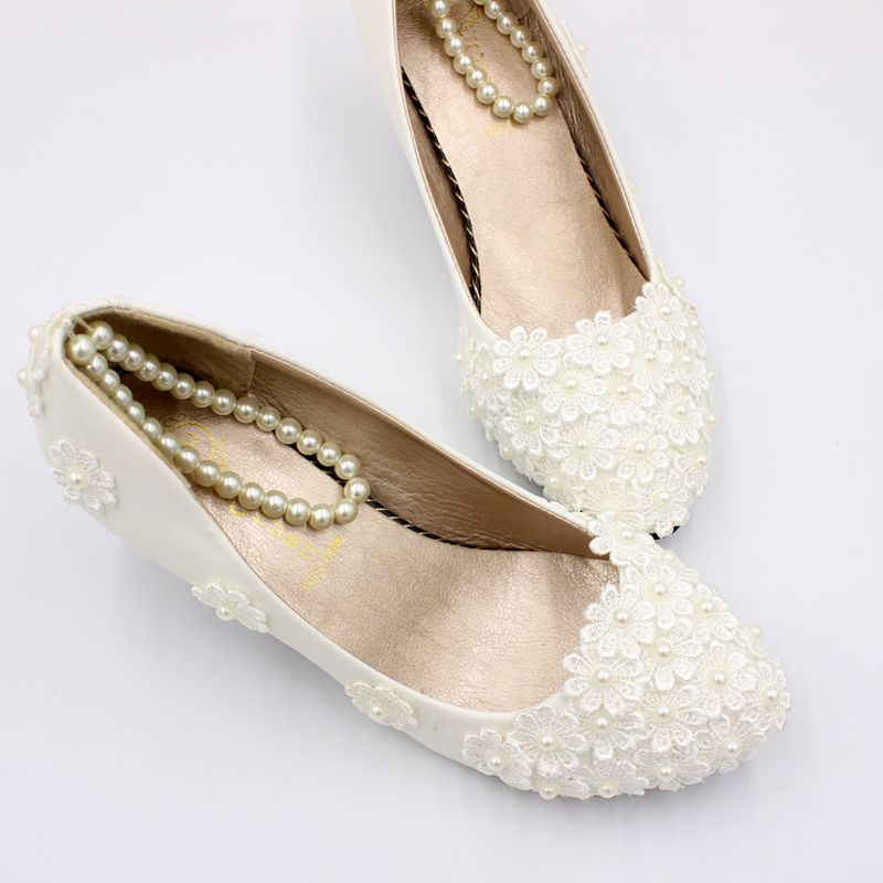New 2019 Designer Lace Ivory Pearls Wedding Shoes Bride Nq194