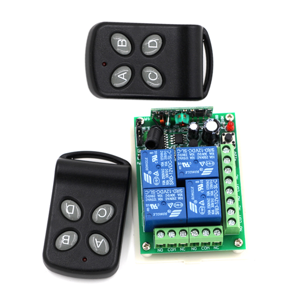 High Sensitivity DC24V 4 Channel RF Wireless Remote Control Relay Switch/Radio System Receiver & 2Transmitter 315Mhz/433Mhz