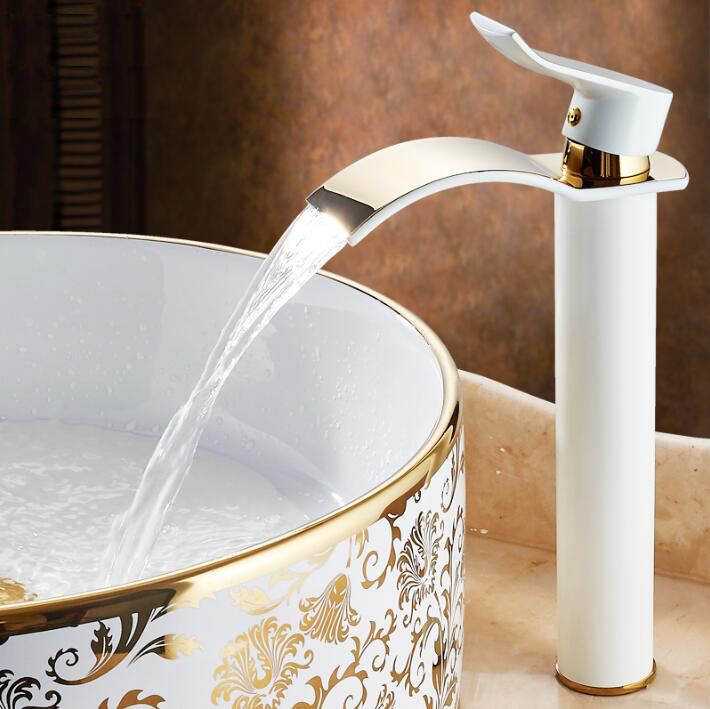 New Arrivals Golden and white color Waterfall Faucet Tall Bathroom Faucet Bathroom Basin Mixer Tap with Hot and Cold Sink faucet new arrivals chrome waterfall faucet tall bathroom faucet bathroom basin mixer sink tap with hot and cold sink faucet