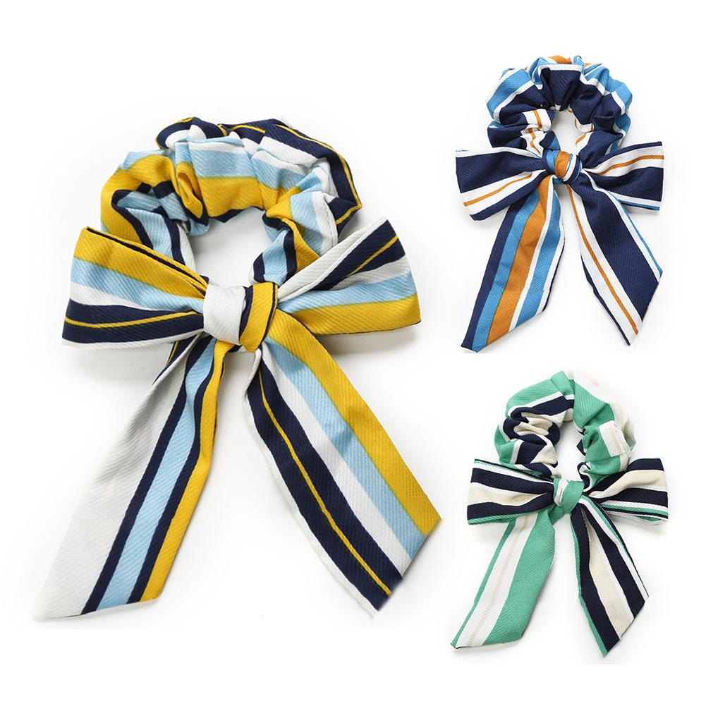 2018 New Fashion Chiffon Bow Long Hair Scrunchies Bow Women Hair Accessories Rubber Hair Rope Ponytail Holder Bows Dropshipping