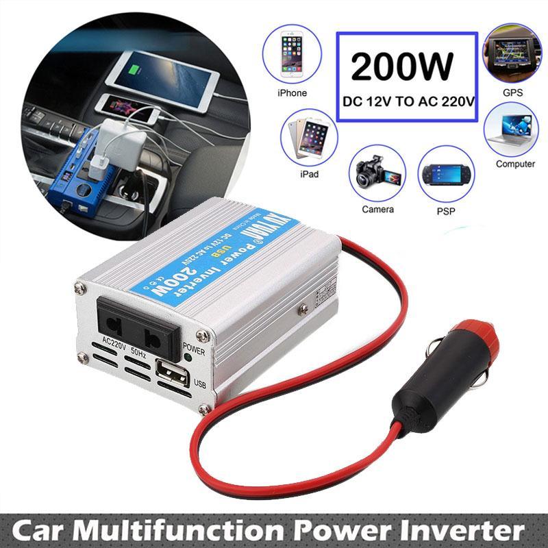 200W Car Power Inverter USB Converter DC 12V To AC 220V w Adapter Plug Compact