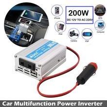 200 W Car Power Inverter Convertidor USB DC 12 V A AC 220 V w/Adaptador de Enchufe Compacto