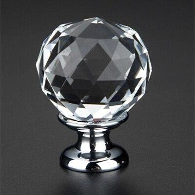 10pcs K9 Clear Crystal Round Knob Furniture Knobs Kitchen Glass Drawer Cabinets Handles Drawer Pulls Closet Decoration Handles