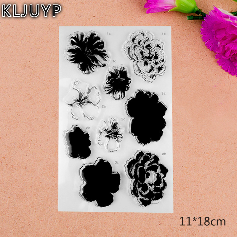 KLJUYP Rose Flowers Transparent Clear Silicone Stamp/Seal for DIY scrapbooking/photo album Decorative clear stamp sheets kljuyp cheese transparent clear silicone stamp seal for diy scrapbooking photo album decorative clear stamp sheets