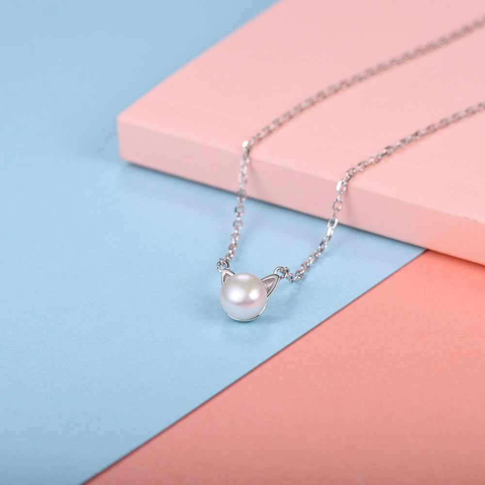 U7 925 Sterling Silver Freshwater Pearl Cute Cat/Kitten Pendant&Chain 2018 Mother's Day Women Gift Animals Jewelry Necklace SC35
